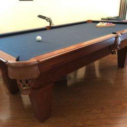 Navy felt pool table